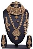 Womens Fashion Style Golden Plated Crystal Stone Polki Indian Necklace Earrings Bridal Set Partywear Jewelry