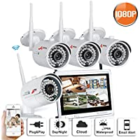4CH 1080P IP Wireless Camera Security System 12inch Monitor WiFi NVR Outdoor Indoor Home Video Security Camera System No Hard Drive SW SWINWAY Anran