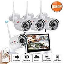 Home Security Camera System Wireless 1080P 4 Channel 12inch LCD Monitor No Hard Drive High Resolution Outdoor Indoor Plau and Play Remote Access SWINWAY ANRAN