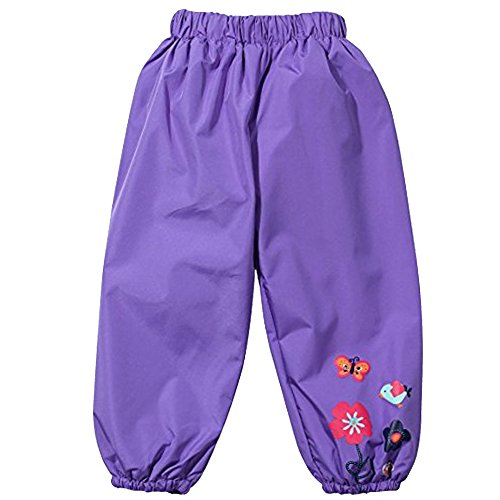 Toddler Girls Boys Waterproof Rain Pants Winter Windbreak Flower Print Outwear Purple 130