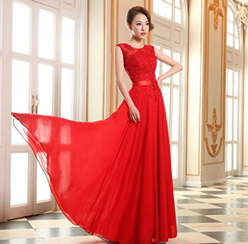 Mujer vestido de novia de novia de la primavera de la boda de noche largo vestido de noche elegante , red , s