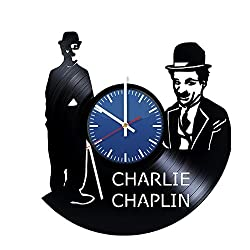 AmKa Charlie Chaplin Handmade Vinyl Record Wall Clock Fun gift Vintage Unique Home decor