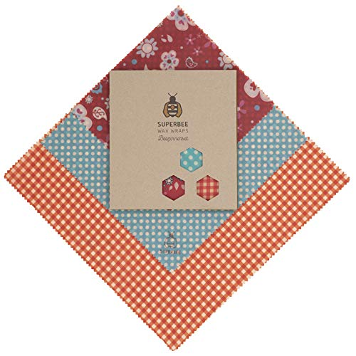 SuperBee Beeswax Wraps | Set of 3: Small, Medium and Large | Organic, Eco Friendly & Ethical Trade Reusable Food Wraps - Flower Power