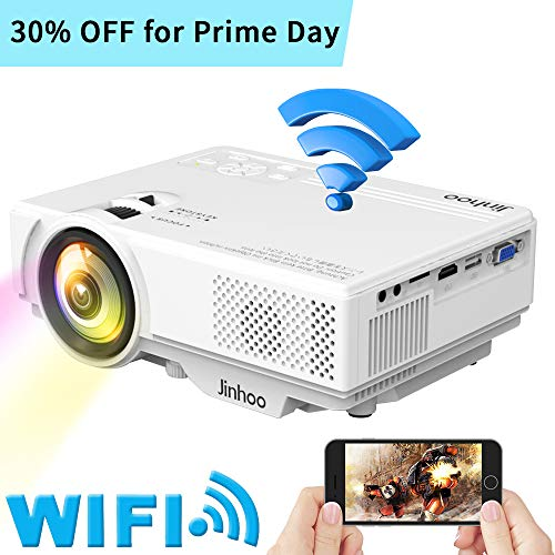 WiFi Mini Projector, Jinhoo 2019 Newest 1080P Supported, 2600 Lux HD Home...