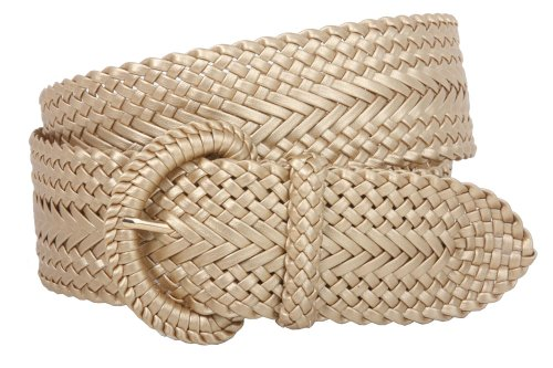 Gold Braided Belt (2 Inch Wide Hand Made Soft Metallic Woven Braided Round Belt Color: Matt Gold Size: L/XL - 45)