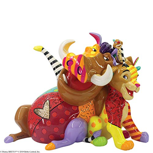 Enesco Disney by Britto Lion King Simba Timon and Pumba Figurine, 7.48 Inch, Multicolor
