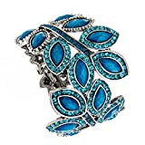 PammyJ Wide Teal Crystal Leaf Metal Casting Bangle Bracelet