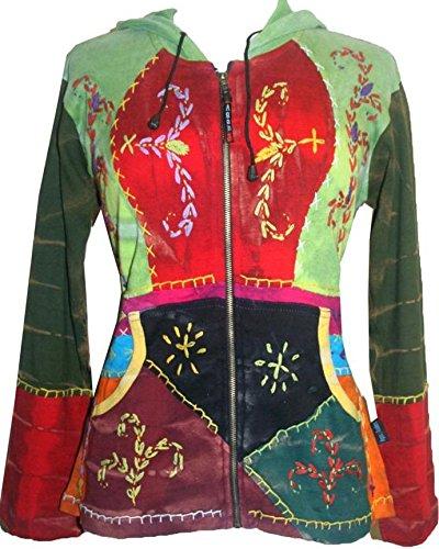 Agan Traders 318 RJ Boho Sweatshirt Rib Hoodie Jacket (X-Large, Red Multi) by Agan Traders