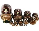 Apol Set of 15 Cartoon Cute Big Belly Shape Brown Owl Handmade Wooden Nesting Dolls Matryoshka Russian Doll For Birthday Christmas Gift Home Decoration Kids Toys