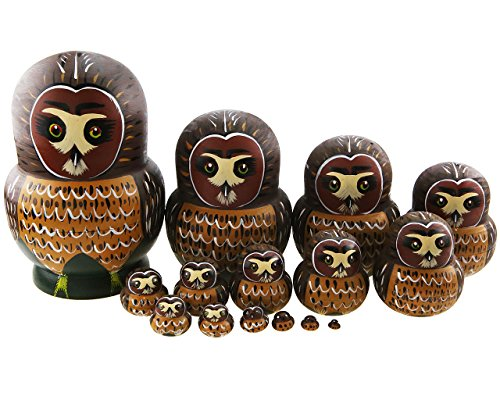 - Apol Set of 15 Cartoon Cute Big Belly Shape Brown Owl Handmade Wooden Nesting Dolls Matryoshka Russian Doll For Birthday Christmas Gift Home Decoration Kids Toys