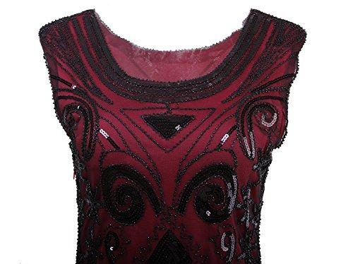 Vikoros - Vestido de encaje para mujer, estilo vintage años 20, con lentejuelas rojo vino
