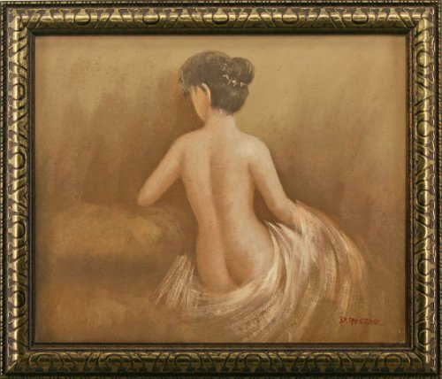Nude Seated Woman Back View Still Life Portrait Art FRAMED OIL PAINTING - 25x29