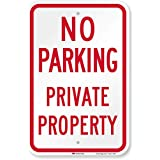 """SmartSign 3M Engineer Grade Reflective Sign, Legend""""No Parking Private Property"""", 18"""" High X 12"""" Wide, Red on White"""