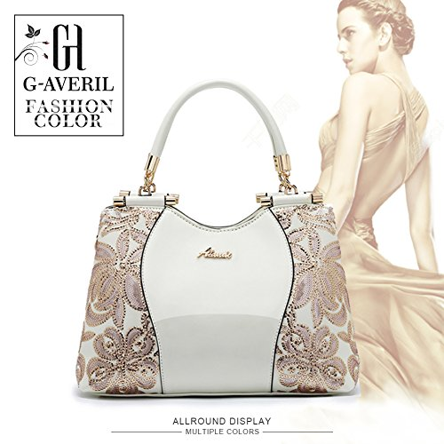 Medium Bag Flower Tote White Sequin Shoulder AVERIL White Bag G For Patent Leather With Lady Women TWgqB