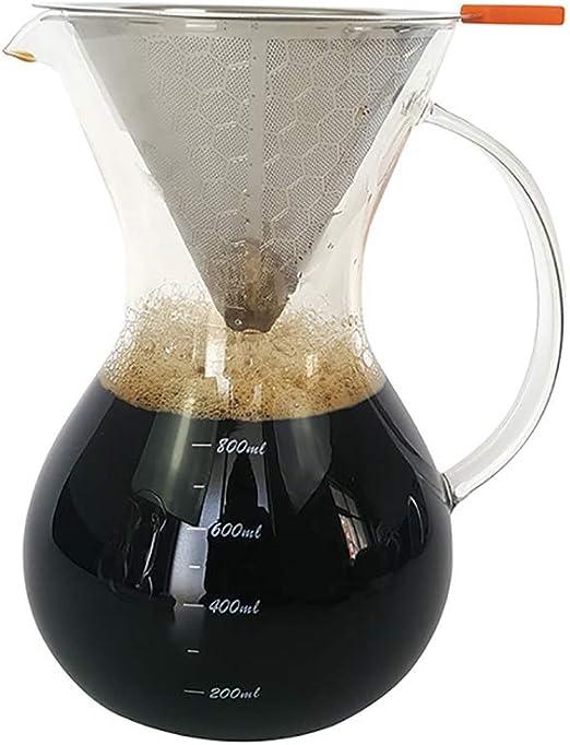 KAFEIHU Cafetera de Vidrio/cafetera de Mano con colador/cafetera ...