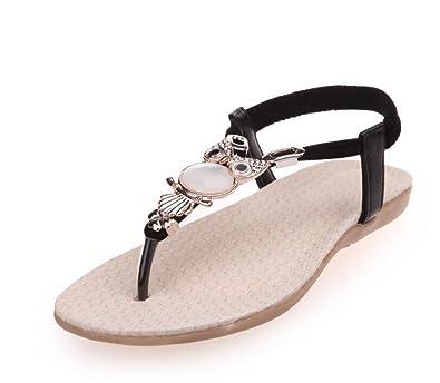 d8b8c5496a6b Vocni Peep Toe Sling Back T-Bar Summer Fashion Bohemia Sandals Flat Shoes  Women s