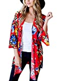 BLENCOT Women's Fashion Chiffon Kimono Cardigan Floral 3/4 Sleeve Loose Blouse Tops Red Small