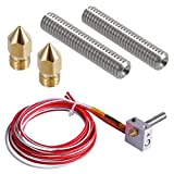 EAONE 3D Printer Parts Accessory Hot End Assembled Extruder Kits 1.75mm Filament Direct Feed 12V 0.4mm Nozzle (Bonus: 2 pcs Extruder Tube & 2 pcs Brass Nozzle)