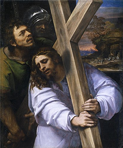 Oil Painting 'Piombo Sebastiano Del Jesus Carrying The Cross Ca. 1516' 16 x 19 inch / 41 x 49 cm , on High Definition HD canvas prints is for Gifts And Foyer, Gym And Home Office (Burgandy Ceiling Lighting)
