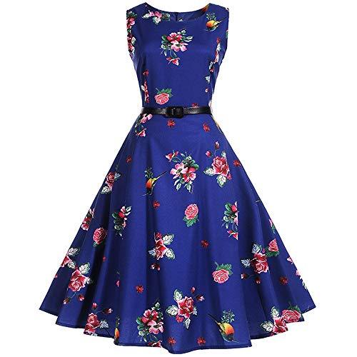 (Plaid Print Vintage Dress Women Summer Floral Swing Party Dress 50s 60s Plus Size,XX-Large,1008)