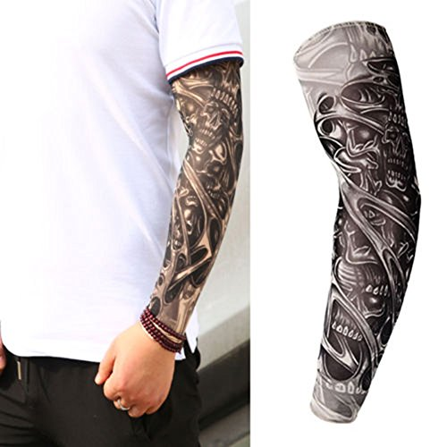 ink2055 Unisex Stretchy UV Protection Cycling Outdoor Fake Slip On Tattoo Arm Sleeve Arm Stockings Tatoo for Cool Men Women