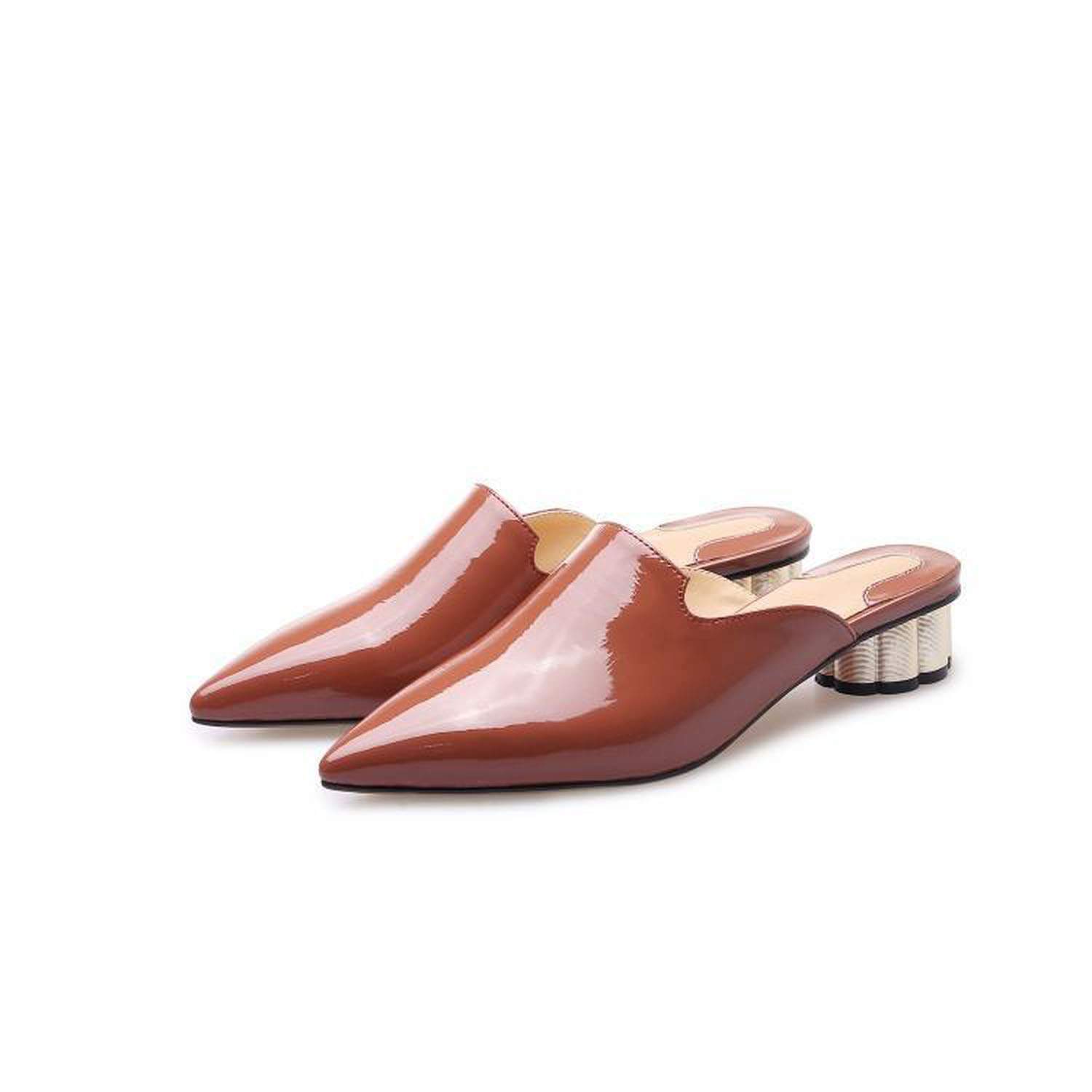 fly-consciousness Summer Slippers Daily Low-Heeled Youth Microfiber Leather Thick Heel