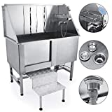 Mophorn 50' Professional Stainless Steel Pet Dog Grooming Tub Pet Bathing Large Pet Grooming Tub with Faucet and Walk-in Ramp & Accessories Dog Washing Station (50')