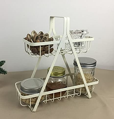 Ordinaire Decorative Kitchen Counter Spice Rack Basket, 2 Tier Dining Tabletop  Condiment Caddy With Handle
