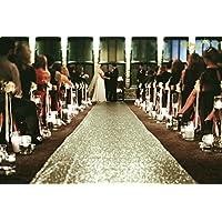 ShinyBeauty Sequin-Aisle-Runner-Matte Gold-30FTx4FT, Sequin Carpet Runner Shimmer Wedding Aisles Floor Runner