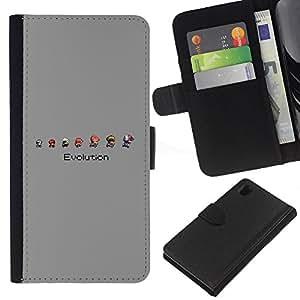 Protector de cuero de la PU de la cubierta del estilo de la carpeta del tirón BY RAYDREAMMM - Sony Xperia Z1 L39 - Mario Evolución