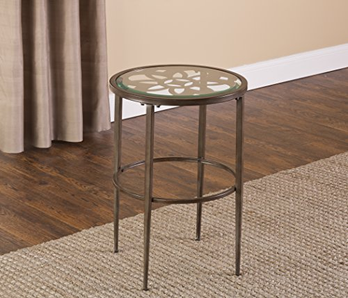 Hillsdale 5497-880 Marsala End Table, 17.25 , Gray Finish with Rubbed Brown Accents