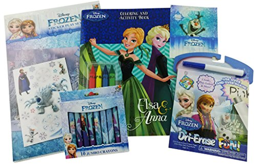Disney Frozen Bundle -5 Items: Sticker Pay Set with Stickers, Coloring and Activity Book with 4 Crayons, Dri-Erase Fun, 37 Frozen Stickers, and a Box Of 10 Jumbo Frozen (Printable Halloween Coloring Activities)