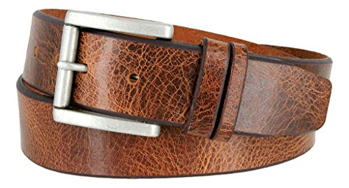 Western Casual Jean Vintage Distress Leather Belt (Tan, (Mens Distress Brown Leather)
