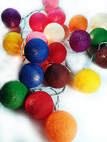 Lastwizard Led Fairy Multi Color 20 Cotton Ball String Lights