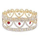 Homyl Retro Diamante Rhinestone Baroque Heart Design Tiara Crown Wedding Engagement Party Bridal Red Purple Headwear Gift - Red