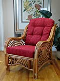 Malibu Design Natural Handmade Rattan Wicker Lounge Chair Colonial (Light Brown) with Burgundy Cushion