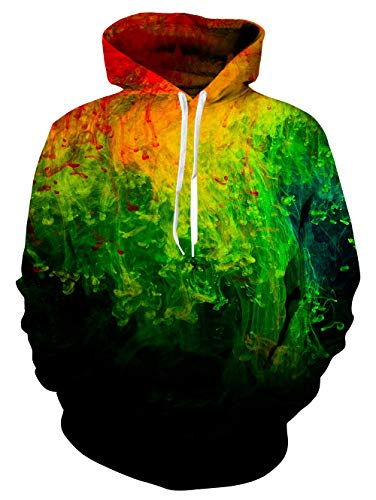 RAISEVERN Unisex Colorful Ink Painting Graphic Hoodies Funny 3D Printed Sportwear Sweatshirt Pullover