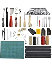 Yaegoo Leather Working Tools, Leather Craft Tools Kit for Hand Sewing Stitching, Stamping Set and Cutting Mat, Leather Tooling Kit for DIY Leather Craft