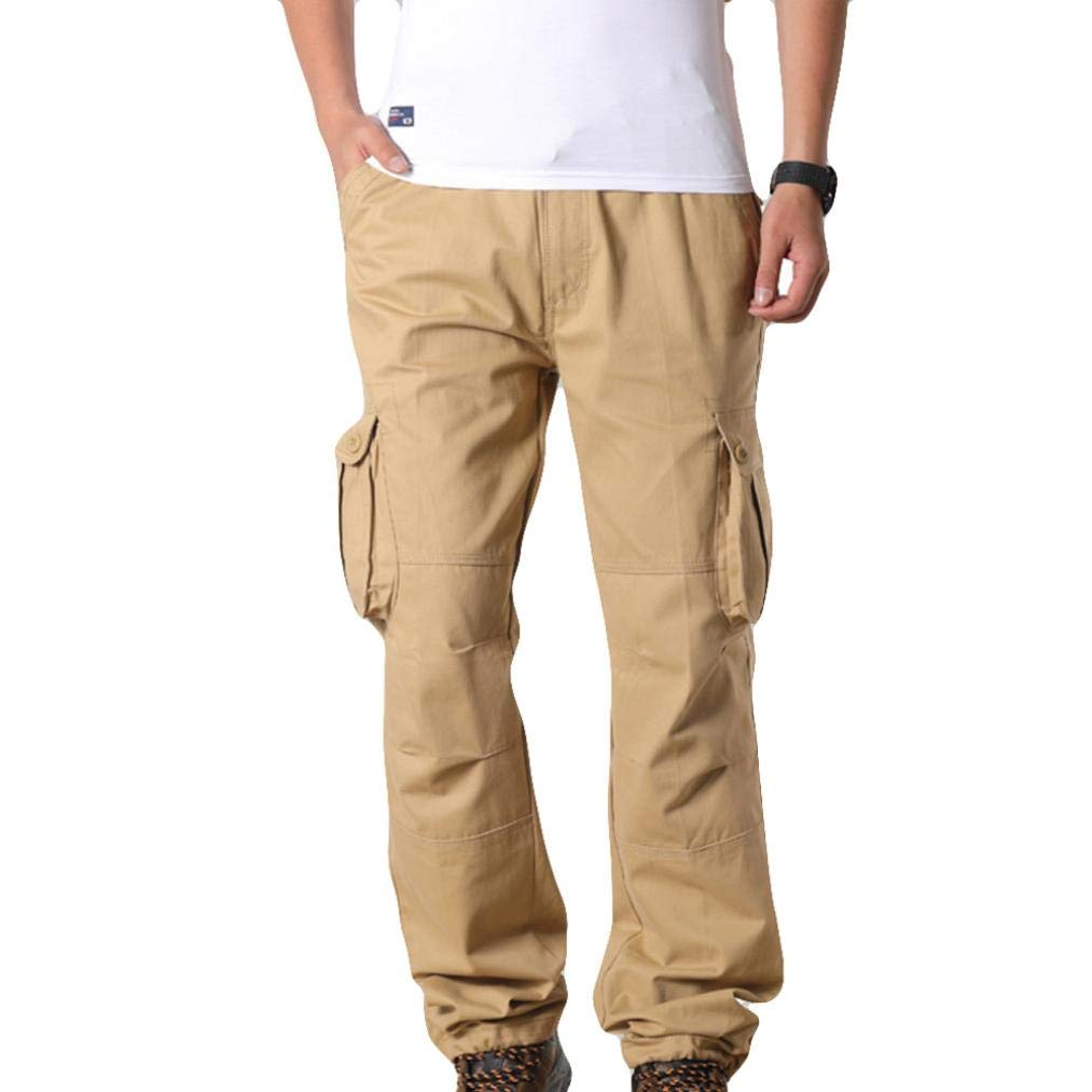 Multi-Pockets Casual Solid Color Cargo Pants Mens Relaxed Fit Outdoors Work Beach Trousers