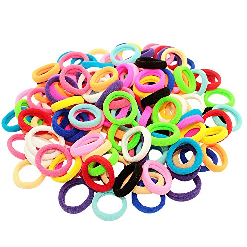 Bzybel Pack of 100 Small Terry Elastic Tiny Ponytail Hair Band Holder Hair Ties MIX Colors