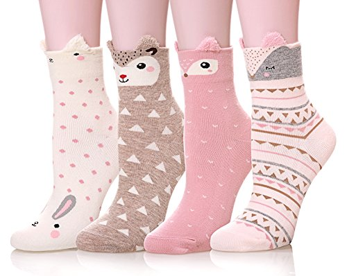 City Gift (Color City Women's Funny Cute Cartoon Animal Novelty Casual Cotton Crew Socks 4-5 Pack)