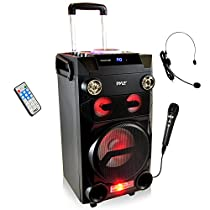 Pyle Portable PA Speaker Karaoke  Speaker BoomBox  Wireless Belt Pack Headset Microphone Mic Sound System Wireless Bluetooth  Built-in Battery, ,Mic Talk-Over & Recording Ability, MP3/USB/SD/FM Radio