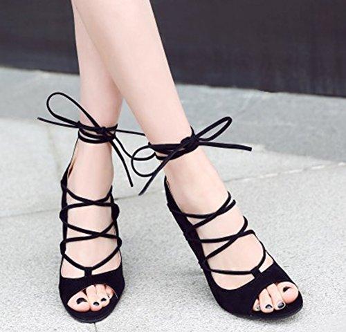 Femme Stiletto Montantes Sandales Aisun Lacets Noir Sexy BnwaqSdxUC