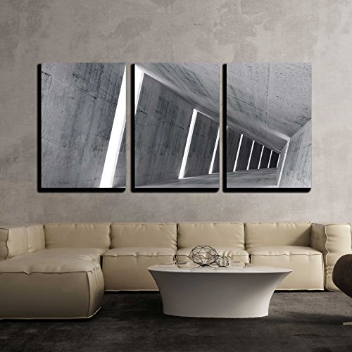 Empty Abstract Concrete Interior 3D Render of pitched Tunnel x3 Panels