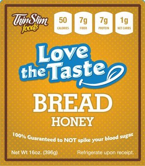 ThinSlim Foods 50 Calorie, 1g Net Carb, Love-The-Taste Low Carb Bread Honey - Atkins Diet Bread
