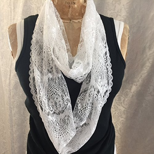 Infinity Scarf, white polyester Scallop knit lace accented with 2 different white lace trims. Handmade in USA.