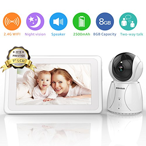 BIGASUO Video Baby Monitor with Camera 7' Large LCD Screen - 2.4GHz WiFi Baby Camera Monitor Infrared Night Vision, Auto-Scan, Two Way Talk, Temperature Monitoring, 5 Lullabies