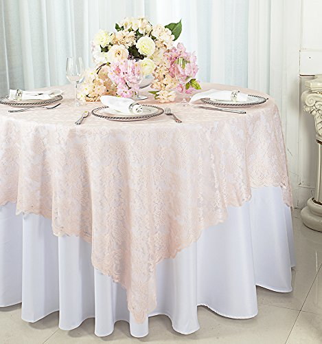 Wedding Linens Inc. 54 in Square Lace Table Overlays, Lace Tablecloths, Lace Table Overlay Linens, Lace Table Toppers for Wedding Decorations, Events Banquet Party Supplies (Blush -