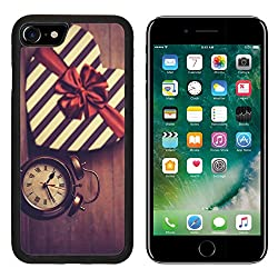 Luxlady Premium Apple iPhone 7 Aluminum Backplate Bumper Snap Case iPhone7 IMAGE ID: 25050102 Retro clock and gift in heart shape on the background