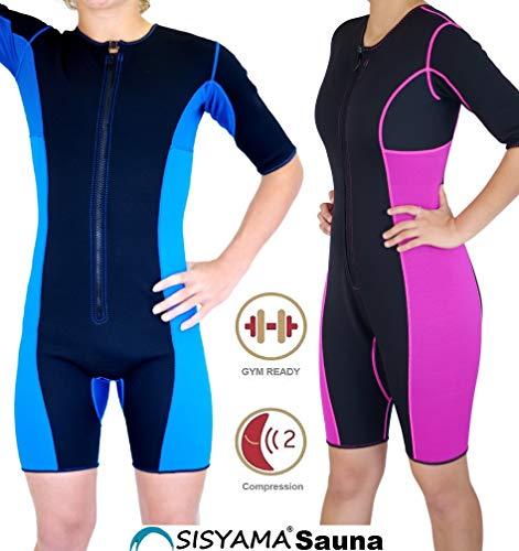 Sisyama Neoprene Sauna Sweat Hot Suit Unisex Weight Loss Slim FIT (Black/Blue Mesh, X-Large)